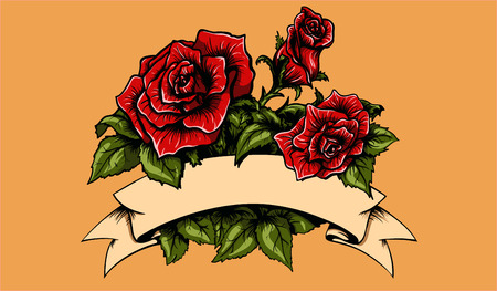 tattoo red roses with leafs and banner.