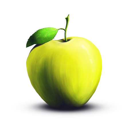 green apple isolated: A digital painting of a juicy green apple isolated on a white background.