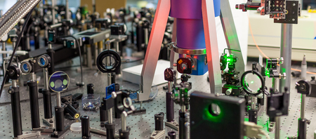 the study of lasers on the test bench Stock Photo