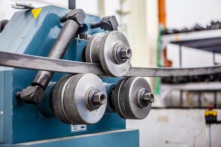 pipe bending machine in the workshop