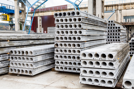 Plant of reinforced concrete structures warehouse concrete products Stock Photo