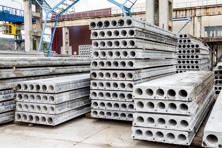 Plant of reinforced concrete structures warehouse concrete products Foto de archivo