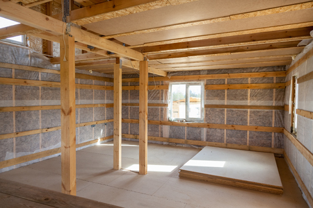 glasswool: the interior of the frame house in process of construction village