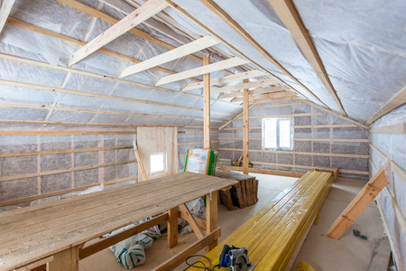 rockwool: the interior of the frame house in process of construction village