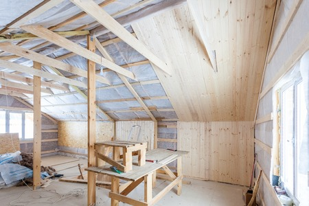 rockwool: the interior of the frame house in process of construction vi