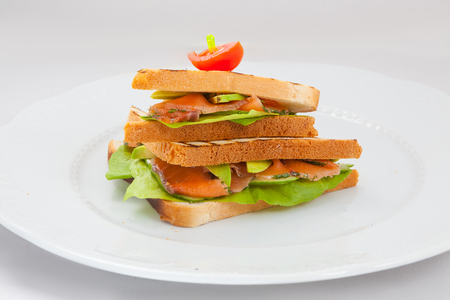 sanwich: The big sanwich with salmon on a white plate