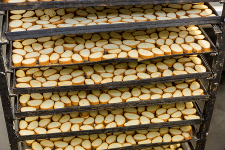 Croutons on a rack in a bakery Stock Photo