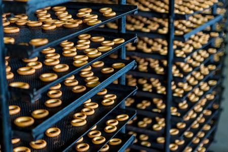 Cracknels in the bakery on racks Stock Photo