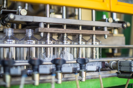 automatic bottling line for solvents Stock Photo