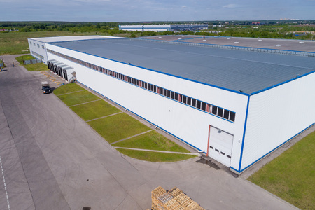 aerial view warehouse building on a summer day Banco de Imagens