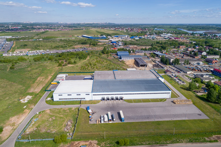 aerial view warehouse building on a summer day Stock Photo