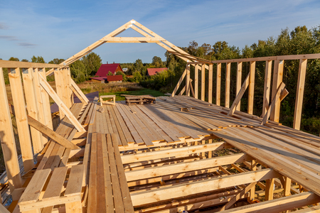 interior frame house in the process of construction village Stock Photo