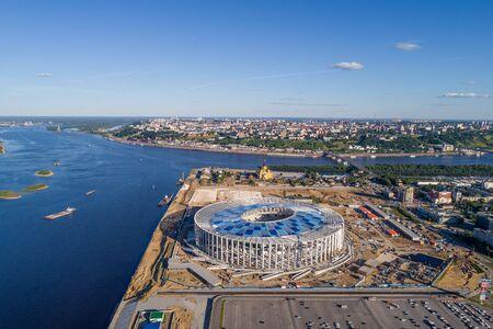 RUSSIA, Nizhny Novogorod - August, 2017: View of Nizhny Novogorod Stadium, building for the 2018 FIFA World Cup in Russia