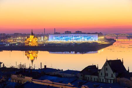 RUSSIA, Nizhny Novogorod - April, 2018: View of Nizhny Novogorod Stadium, building for the 2018 FIFA World Cup in Russia