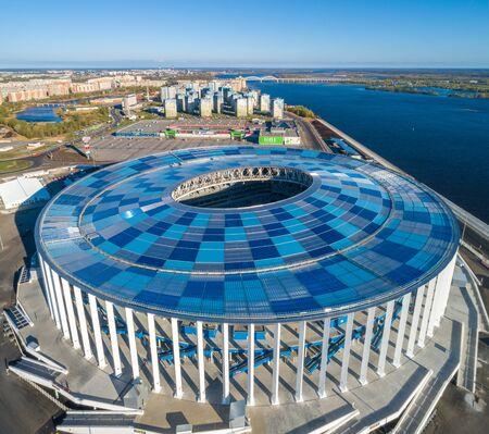 RUSSIA, Nizhny Novogorod - May, 2018: View of Nizhny Novogorod Stadium, building for the 2018 FIFA World Cup in Russia, from dron
