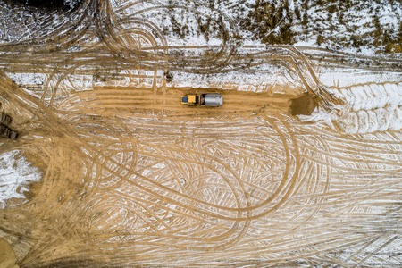 alignment of the construction site with sand, drone shooting, autumn Stock Photo - 116859059