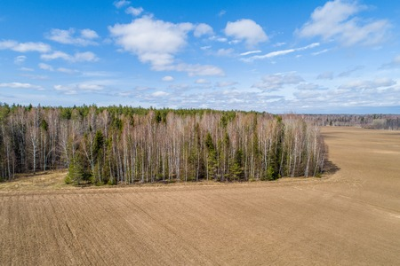 spring, the plowed field, the woods, shooting at the drone
