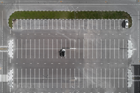 top view of the Parking lot Stock Photo