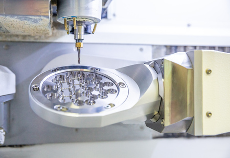 the cutter and the workpiece of titanium in the manufacturing process of the implants for implantation