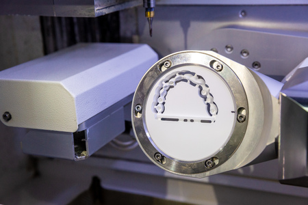 preparation of zircon in the process of manufacturing dentures Stok Fotoğraf