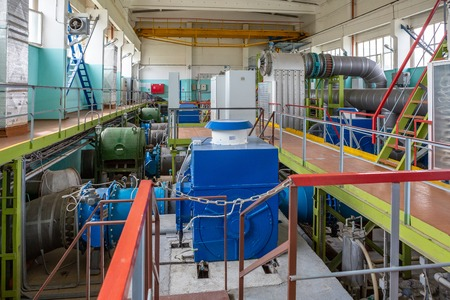 pumps at the water treatment plant in an industrial environment