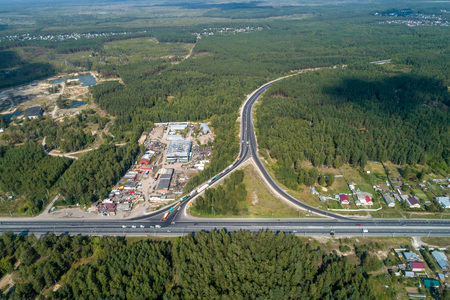 interchange long-distance highway view from drone in summer