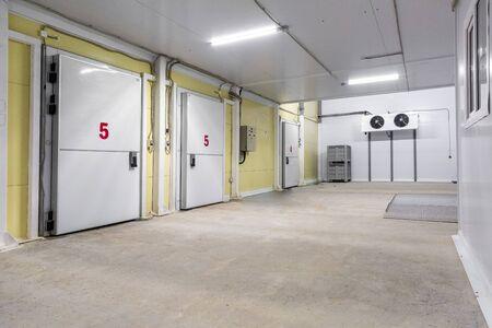 vista esterna della camera di raffreddamento industriale Archivio Fotografico