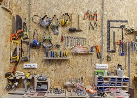 tools in the workplace in the carpenters shop