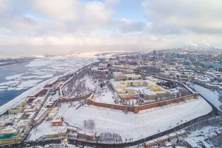 Nizhny Novgorod. Beautiful winter view. Frost on the branches, a strong frost. View of the Kremlin. Shooting from a drone