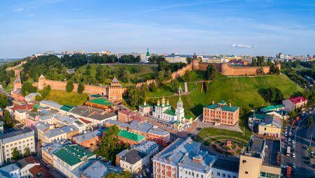 Nizhny Novgorod Kremlin, individual towers close-up. Summer shooting.