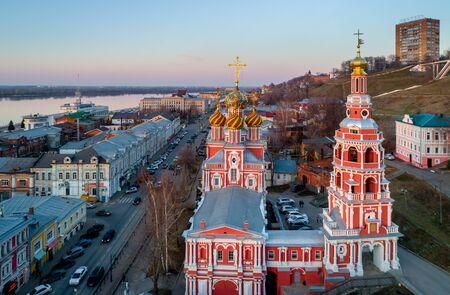 Nizhny Novgorod. Christmas Stroganov Church on Rozhdestvenskaya street. A monument of Baroque architecture.