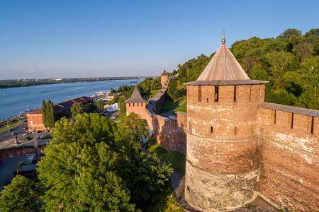 Nizhny Novgorod Kremlin on the mountain. An ancient Russian fortress at the confluence of the great Oka and Volga rivers Foto de archivo
