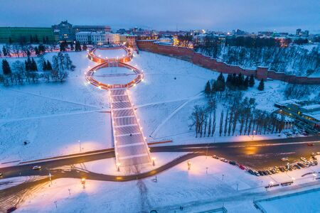 Nizhny Novgorod. Chkalov stairs - Eight. Shooting with the drone Foto de archivo
