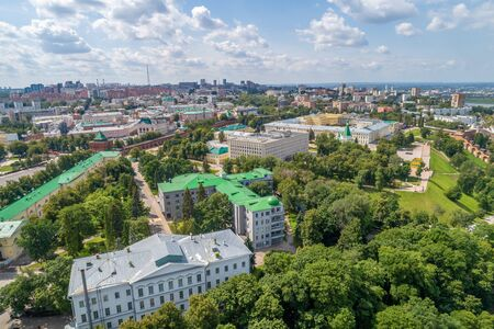 Nizhny Novgorod Kremlin summer views on a Sunny day. Shooting from a drone