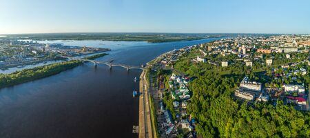 Nizhny Novgorod view of the Arrow from the throne. The Alexander Nevsky Cathedral and the stadium.