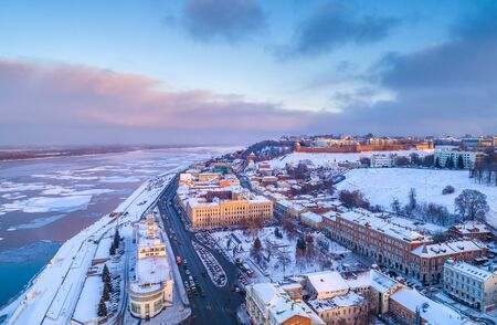 Nizhny Novgorod. Panorama of the city of winter. Shooting from a drone