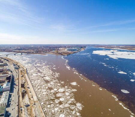 Spring ice drift in Nizhny Novgorod, on Strelka, the confluence of the Oka and Volga. Shooting from a height. spring day