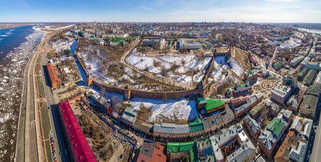 Nizhny Novgorod Kremlin spring views on a Sunny day. Shooting from a drone. Foto de archivo