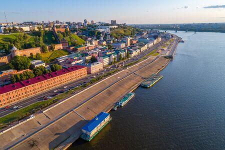 Nizhny Novgorod. Lower Volga embankment. Overview photo from the drone. Summer Sunny day