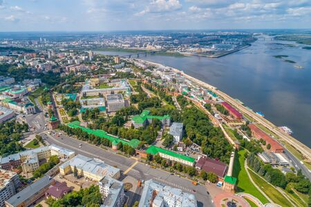 The center of Nizhny Novgorod and the Kremlin from a great height. Summer panorama. View of the Kremlin and Strelka Foto de archivo