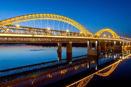 Nizhny Novgorod. Bor bridge at dusk. The sunset lighting. Shooting from a drone Stock fotó