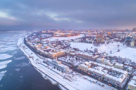 Nizhny Novgorod. Panorama of the city of winter. Shooting from a drone, evening light Foto de archivo