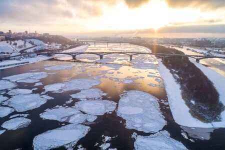 Spring ice drift in Nizhny Novgorod, on Strelka, the confluence of the Oka and Volga. Shooting from a height.
