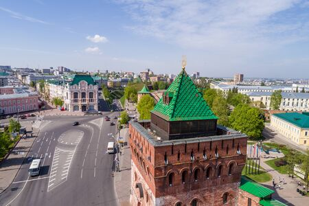 Nizhny Novgorod. Dmitry tower and the square of Minin. Day view from a drone, in summer Foto de archivo