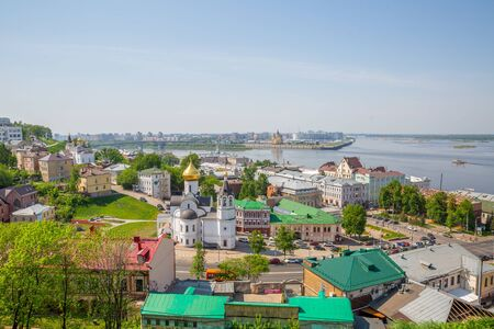 Nizhny Novgorod. Panorama of the city from the Kremlin walls. View of the Arrow, stadium, Zaipochaine and the old town. View of the Oka and Volga. Sunny day, summer