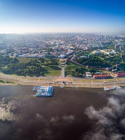 Nizhny Novgorod. Chkalov stairs - Eight. Shooting with the drone, on a Sunny summer day Foto de archivo