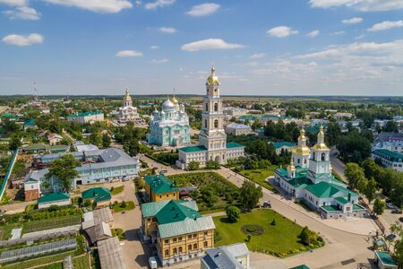 Diveevo. Panorama of the Seraphim-diveyevsky monastery. Shooting from a drone. Clear Summer day Foto de archivo
