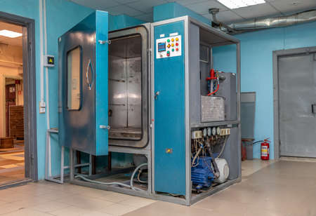 test chamber for new products. Heat and cold chamber. blue color
