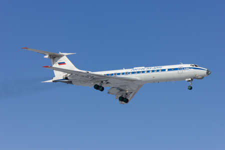 Military aircraft Tu-134 is landing, Rostov-on-Don, Russia, 7 February 2012
