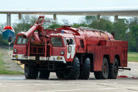 Aerodrome fire truck, Taganrog, Russia, May 16, 2015. Aviation plant, This machine runs on the ground with water seaplanes